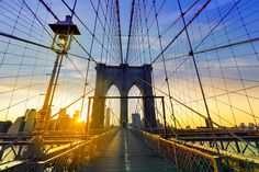 Walking on the Brooklyn Bridge during Sunset