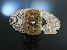 Trachten Tradition! Historische Kropfkette Trachten Collier Wien um 1850 16reihig Silber Zierschließe vergoldet, antique original bavarian necklace, bayerischer Schmuck zu Tracht und Dirndl bei Die Halsbandaffaire