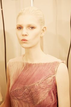 Pink micro pleats backstage at Bottega Veneta AW14 MFW. More images here: http://www.dazeddigital.com/fashion/article/18977/1/bottega-veneta-aw14