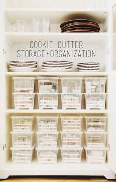 4. Sort your cookie cutters by shape or theme and store them in labelled plastic boxes.   Via Sweet Kiera.