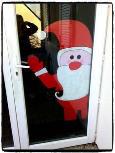 un père noel de bienvenu à accrocher à la porte d'entrée ou fenetre, peinture, bricolage de noel