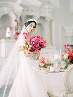 Striking modern wedding ideas inspired by the Bougainvillea bloom | Los Angeles Wedding Inspiration Romantic Wedding Inspiration, Wedding Ideas, Elegant Wedding Dress, Wedding Dresses, Bougainvillea, Bridal, California Wedding, Wedding Portraits, Wedding Planner