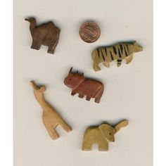 5 Natural Wood Animal Beads - Giraffe, Tiger, Elephant, Camel & Rhinoceros Listing in the Wood,Beads,Crafts, Handmade & Sewing Category on eBid United States | 135634986