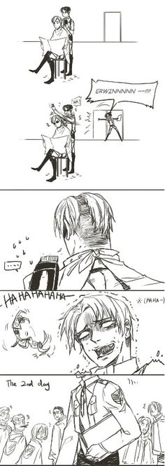 Lol Levi gets scared of Hanji yelling and messes up Erwin's hair!!!!