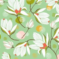 Magnolia Blossom Mint fabric by heatherdutton on Spoonflower - custom fabric