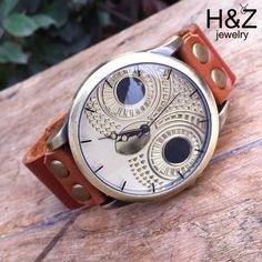 nieuwe antieke uil 2014 grote gezicht horloges vrouwen jurk mode vintage dames schattige horloge lederen band quartz horloges