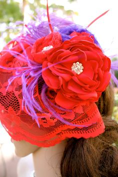 "RED HAT SOCIETY headpiece ""Beverly"" Red Lace by VegasVeils Fascinator Hats, Fascinators, Lace Flowers, Purple Flowers, Jenny Joseph, Birdcage Veils, Red Hat Society, Lady In Waiting, Flower Headpiece"