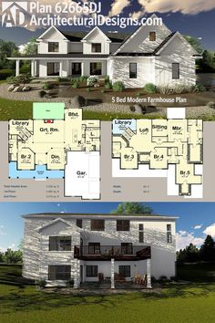 Architectural Designs 5 Bed Modern Farmhouse Plan 62665DJ has two matching gables over the broad front porch, a side-load 3-car garage and a library with a cathedral ceiling. Over 4,300 square feet of heated living space. Ready when you are. Where do YOU want to build?