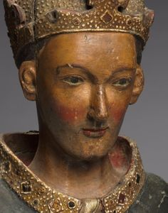 Old reliquary bust of St. Louis, bishop of Toulouse, late 1300s.