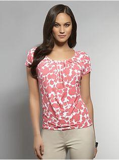 Floral Print Pleat Neck Top