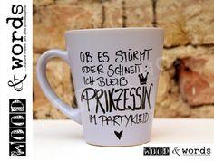 Becher & Tassen - Kaffeebecher - Prinzessin im Partykleid - ein Designerstück von woodandwords bei DaWanda