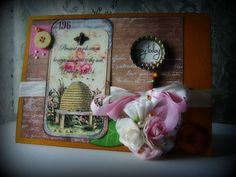 Handmade Card ENJOY TODAY Elegant card fancy by BennBooCreations