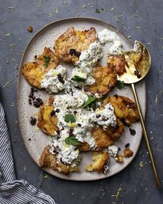 Smashed Lemony Potatoes topped with Yogurt, Feta . The chunky Feta dressing is fresh herb strong with so many great flavors in each bite and is a perfect foil to the extra crispy lemony potatoes! Vegetarian Recipes, Cooking Recipes, Healthy Recipes, Vegan Meals, Diet Recipes, Salmon Recipes, Recipes Dinner, Vegan Food, Chicken Recipes