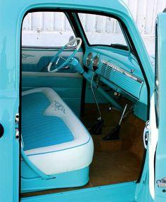 Blue truck interior