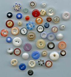 SOLD: Group of mixed china buttons antique and vintage buttons