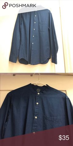 J Crew Indigo Banded Collar Shirt Banded collar shirt. Great condition. A bit more blue than the picture looks. Great condition! Awesome shirt to dress up or wear out. J. Crew Shirts Casual Button Down Shirts