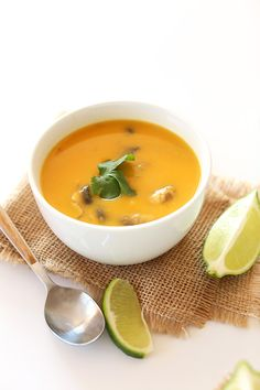 Traditional tom kha gai soup with the addition of creamy roasted butternut squash. Loaded with ginger and lemongrass flavor with plenty of spice from Thai chilis. Hearty, comforting, and so healthy.