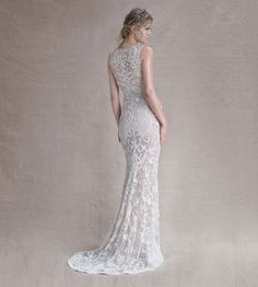 #PaoloSebastian embellished tulle column wedding gown // The Call of the Sea: Paolo Sebastian's Spring/Summer 2014-15 Collection