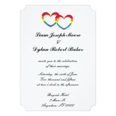 """""""Rainbow Double Hearts"""" Wedding Invitations"""