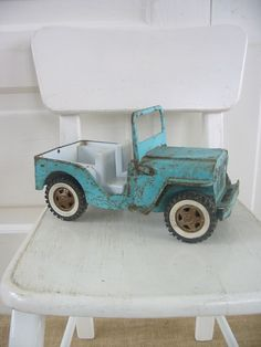Vintage Metal Toy Truck Jeep Aqua Blue Boy Nursery Decor Kid Child by vintagejane on Etsy