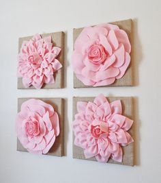 Baby Nursery Wall Decor SET OF FOUR Light Pink Dahlias by bedbuggs