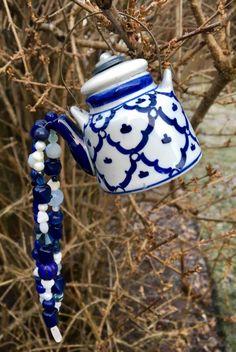 Blue White Tea Pot Ornament Mini Tea Pot Windchime by mscenna