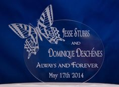 Wedding Cake Topper Custom Engraved Butterfly Cake Topper with your Names and date