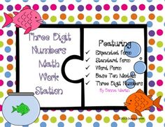 Three Digit Numbers Math Work StationThis is a fun math station that practices the different forms of three digit numbers up to 1,000. Ive included: word form, expanded form, standard form, and base ten models. Each card is in a puzzle format. The standard form of the number is in red on the left side and the matching word, expanded, or base ten model is on the right in blue. Math Place Value, Place Values, Math Work, Fun Math, Expanded Form, Standard Form, Math Stations, School Ideas, Third