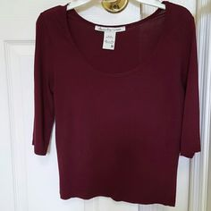 American rag burgundy  shirt size m Gently  used  stretchable size medium cute and comfortable  Make an offer American Rag Tops