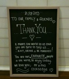 Wedding Thank You - Personalised chalkboard sign shabby chic gift decoration