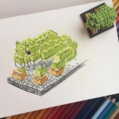 """8 mentions J'aime, 1 commentaires - Kateryna Kateryna (@kateryna.kateryn) sur Instagram: """"#dailysketch #sketch #colour #pencils #lego #nanoblock #frog #morning"""""""