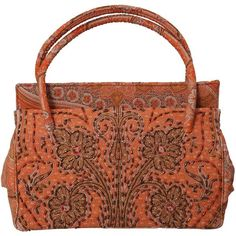 Preowned Laddie Northridge 1950's Beaded Paisley Bag & Hat (€465) ❤ liked on Polyvore featuring brown and top handle bags