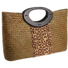 Magid Matte Straw Animal Print Purse