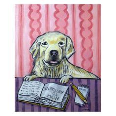 Golden Retriever Reading a Book Dog  Art Print by lulunjay on Etsy, $17.99