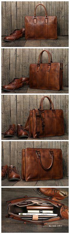 Handmade Vintage Genuine Men's Leather Briefcase Messenger Bag 15'' Laptop Bag Travel Bag NZ03