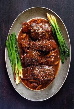 Korean Braised Beef Short Ribs From A Chefs Kitchen, Braised Short Ribs {Easy Short Rib Recipe!} Dinner, then Dessert, BBQ Short R. Korean Braised Short Ribs, Beef Short Ribs, Pork Ribs, Asian Short Ribs, Rib Recipes, Asian Recipes, Cooking Recipes, Asian Desserts, Sirloin Recipes