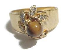 Rhinestone Ring Vintage Seta Fashion ring by PalmFrondJewelry