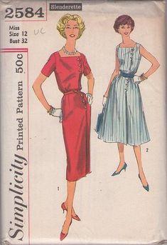 MOMSPatterns Vintage Sewing Patterns - Simplicity 2584 Vintage 50's Sewing Pattern AMAZING Slenderette Square Neck Front Wrap, Scallop Button Tabs Sheath Dress, Flared Skirt Coat Dress Size 12