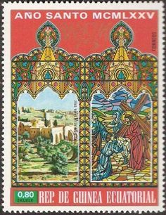 Stamp: Cross Monastery (Equatorial Guinea) (Easter 1975, Holy Year: Buildings in Jerusalem) Mi:GQ 529,Sn:GQ 75-20,Yt:GQ 57-C