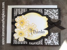 """Say """"Thanks"""" with these yellowish gold jeweled flowers on different black and white papers with a black blow tied ribbon. Inside has layered matching papers wit"""