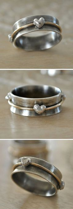 Valentine's Gift Spinner Ring with Fine Silver Hearts
