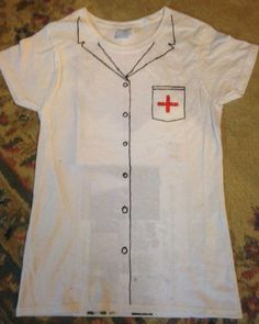 Homemade dramatic play costumes! Simple and cheap. A cotton shirt (this one is from the dollar store) and fabric markers. Draw on the design, let it dry, and it's ready to go! The kids loved them!