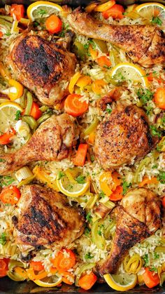 Oven-fried chicken with vegetable rice is a great recipe that is easy and stress-free . Baked Chicken With Vegetables, Crockpot Recipes, Chicken Recipes, Great Recipes, Dinner Recipes, Delicious Recipes, Side Dishes For Chicken, Vegetable Rice, Oven Fried Chicken