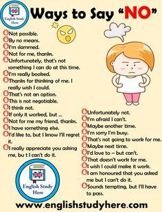 30 Methods to Say No in English English Research Right here English study Ways Learn English Grammar, English Writing Skills, English Vocabulary Words, Learn English Words, English Idioms, English Phrases, English Study, English Lessons, English English