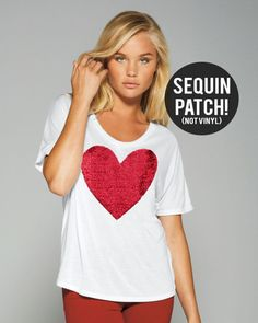 Valentines Tee. Heart Shirt. Sequin Heart TShirt Tee. Bridal Party Shirt. Sequin Heart Patch. Engagement Gift Idea. I Love You. Tumblr Shirt