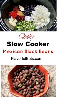Smoky Slow Cooker Mexican Black Beans are dried black beans combined with smoky chipotle peppers, onion, garlic, jalapeno, and Mexican spices. These will be a serious crowd-pleaser and perfect addition to your Mexican fiesta. Mexican Beans Recipe, Mexican Black Beans, Mexican Food Recipes, Vegetarian Recipes, Healthy Recipes, Chipotle Black Beans, Vegetarian Barbecue, Barbecue Recipes, Vegetarian Cooking