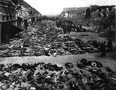 Amerikkalaisten vapauttama Nordhausenin keskitysleiri hiukan ennen sodan loppua.