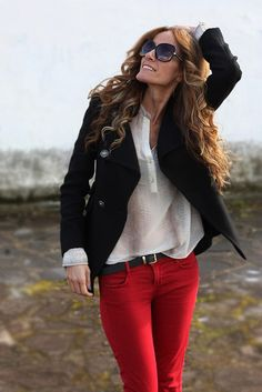 red jeans and blazer