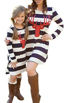 Lurryly Family Matching Mom Baby Girls Dress Wave Striped Print Outfits Family Clothes