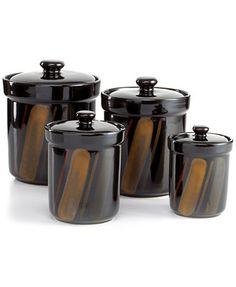 Sango Avanti Black Set of 4 Canisters (Macy's)